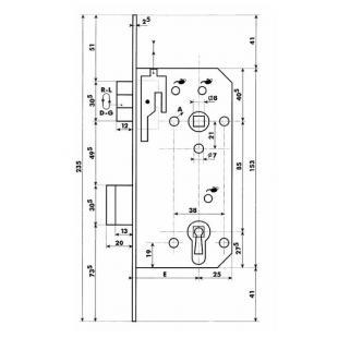 Cilinderslot Dyla 110 / E=50 / 85 recht, gelakt