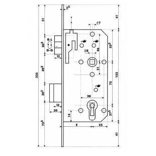 Dyla 114 vpl.20mm / E=55 / 72 recht, gelakt Belgisch links