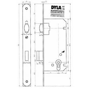 Cilinderrolslot Dyla 53C / E=45 / 110 recht, gelakt
