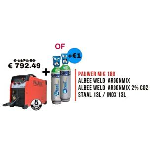 PROMO Pauwer: halfautomaat MIG 180 + gasfles Armix 2% (13l)